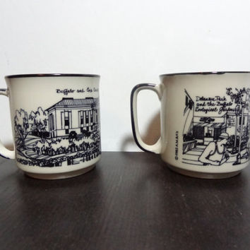Vintage A.M. & A's Mid Century Style Ceramic Buffalo New York Souvenir Mugs - Stoneware Coffee Mugs Set of 2 - Mid Century Modern