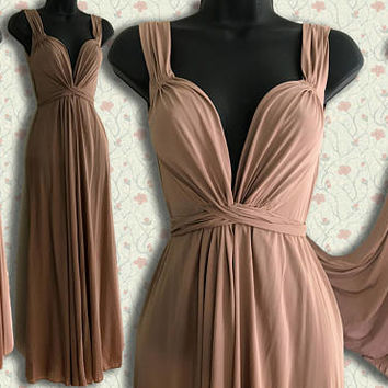 1970s John Kloss for CIRCA Vintage Maxi Wrap Dress / rose, peach taupe colored long designer draped plunging