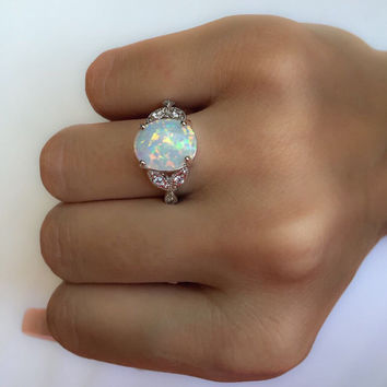 Opal Ring Sterling Silver Opal Ring Silver Ring 925 silver moon stone White Stone Rings Gemstone Rings Gifts for Her gift ideas promise ring