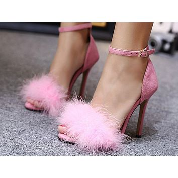 Fashion feminine mouth sexy button wool fish with super high heel Pink