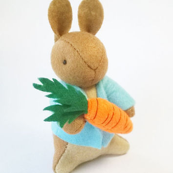 Peter Rabbit Felt Doll with Giant Carrot Soft Sculpture, Baby Shower Gift, Nursery Decor, Inspired by Tales of Beatrix Potter