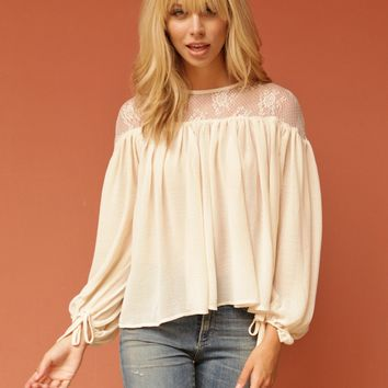 West Coast Wardrobe  On the Horizon Lace Shoulder Top in Natural