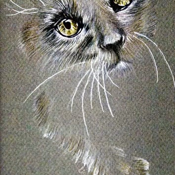Original Drawing Grey Cat with Yellow Eyes, cat drawing, pencil drawing, cat lover, animal, pet mom, pencil drawing, wall art, sketch, gift