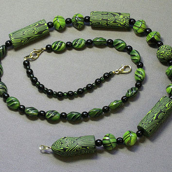 Black and Green Art Deco Bead Snake Necklace, Abstract Reptile Jewelry, Wearable Art, Polymer Clay with Vintage German Pressed Glass Beads