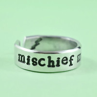 mischief managed - Hand Stamped Aluminum Cuff Ring, Harry Potter Inspired Ring, Personailzed Ring