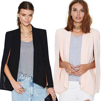 DCCKHY9 New Ladies Women Long Sleeve Lapel Cape Poncho Office Jacket Cloak Blazer Suit Coat P1