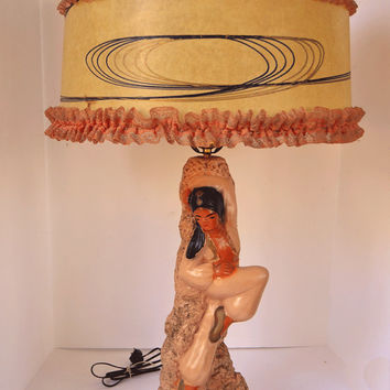 Fabulous, Frilly, Over the Top 1950's Chalkware Genie Dancer Lamp - Dusty Salmon Pink & Black w/Fiberglass Shade