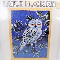 Snow Owl Latch Hook Kit, NOS, National Yarn Crafts, Blue White Green, Snowy Owl, Vintage Crafting