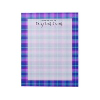 Turquoise Blue Purple Lavender Plaid Stationery Notepad