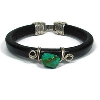 Men's Regaliz Leather and Turquoise Bracelet