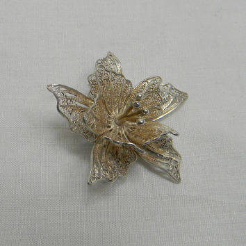 Vintage Maltese Silver Filigree brooch flower by FeliceSereno