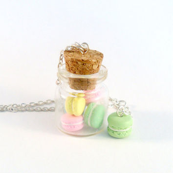 Jar of Macarons Necklace, Kitsch Tiny pastel Macaroons, Cute And Kawaii :D