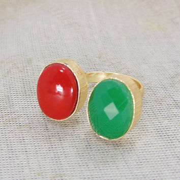 Green Onyx Ring - Handmade Brass Ring - Oval Gemstone Ring - Red Coral Ring - Gold Plated Ring - Adjustable Ring - Matte Wedding Ring