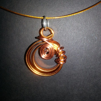 """Copper colored aluminum wire pendant and 18"""" neck ring,funky pendant,modern jewelry,spiral design pendant,unique pendant,lightweight pendant"""