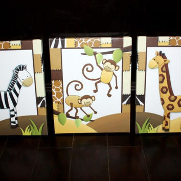 Set of 3 In the Jungle Stretched Canvases Children's Bedroom Baby Nursery CANVAS Bedroom Wall Art 3CS010