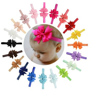 "20pcs/Lot 3"" Grosgrain Ribbon Hair Bow Headbands Accessories Hairband Flower Solid Color for Baby Girl Toddlers Kids Children"