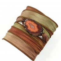Silk Wrap Bracelet with Brown Agate Connector