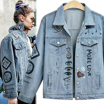Autumn Women Style Loose Casual Street Printing Letters Jacket Denim Jacket Female Plus Size Coat