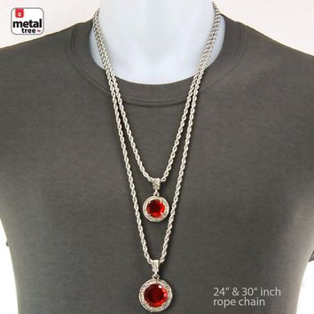 Jewelry Kay style Men's Double Round Red Ruby Stone Double Pendant Combo Rope Chain Necklace MHC14