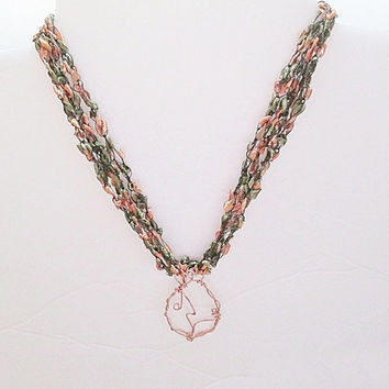 Ribbon Yarn Necklace, Trellis Yarn Necklace, Ladder Yarn Necklace, Copper Pendant, Yarn Necklace, Orange And Green