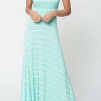 Striped A-Line Sexy Maxi Strap Dress