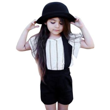 2017 Summer Fashion girls clothing sets  vest T-shirt + Halter Bib clothing Casual white and black kids clothes Striped Outfits
