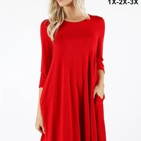 Ruby Red Tunic with Pockets