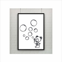 Cute Bear with Bubbles kids poster (from US Letter and A4 up to A0 size) Interior Decor / Kids Room Decor / Nursery