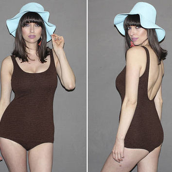 Vintage One Piece Bathing Suit / PINUP Style 90s does 50s Swimsuit / Chocolate Brown / Textured, Slimming, Flattering / Medium