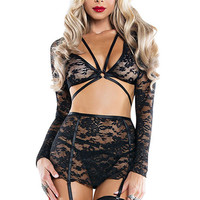 Harness Your Body Lace Skirt Set