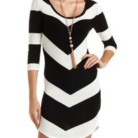 Chevron Stripe Sweater Dress by Charlotte Russe