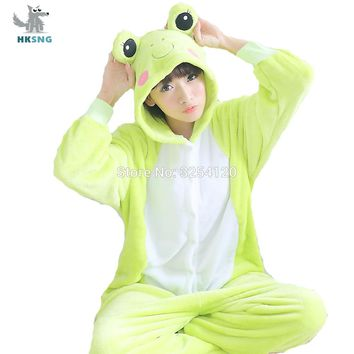 HKSNG Animal Frog Kigurumi Pajamas High Quality Flannel Family Party Cartoon Onesuits Cosplay Costumes Jumpsuits Sleepwear