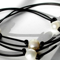 Lariat black leather and white freshwater pearl necklace handmade