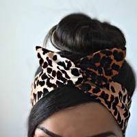 Leopard head bands, dolly bow headband , Chic Head wrap