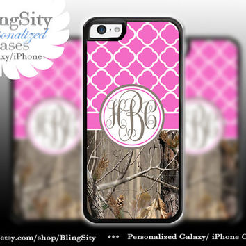 Monogram Iphone 5C case iPhone 5s  iPhone 4 case Ipod 4 5 Touch case Real Tree Camo Hot Pink Quatrefoil Personalized Country Girl