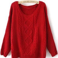 Red Round Neck Broken Stripe Cable Sweater S001627