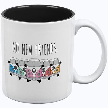 Hippie Van No New Friends Bus Camper All Over Coffee Mug