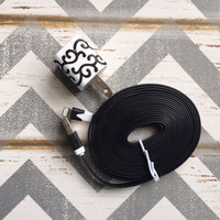 New Super Cute Black Glitter Scroll Designed USB Wall Connector + 10ft Flat Black iPhone 5/5s/5c Cable Cord