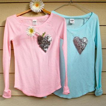"The ""Dazzle Pocket"" Victoria's Secret Thermal  - Pocket Shirt/Sequin Pocket Tiffany Blue/Pink/Turquoise"