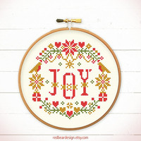 Christmas cross stitch pattern - JOY in the X'mas Floral