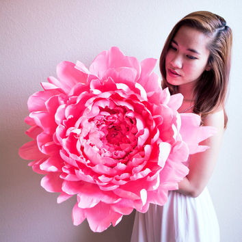 Handmade giant Peony flower with or without stem, paper flower, wedding bouquet, bridesmaid bouquet,  wedding decoration,Summer, Spring