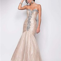 Champagne Metallic Ruched Tulle Strapless Rhinestone Lace Up Mermaid Prom Gown - Unique Vintage - Cocktail, Pinup, Holiday & Prom Dresses.