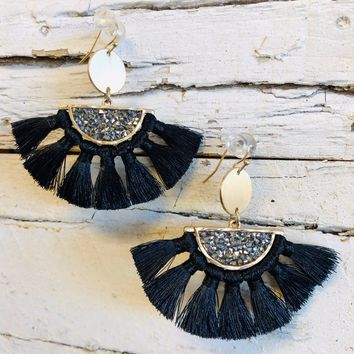 Stand Out Tassel Earrings: Black