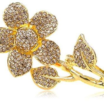 Alilang Two Fingers Daisy Golden Tone Topaz Smokey Light Crystal Rhinestone Flower Ring