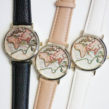 VINTAGE WORLD MAP - WATCH