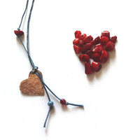 Aluminium heart necklace with cotton thread and bamboo coral and glass pearls