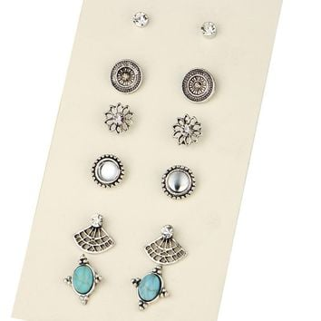 ES195 Cute Earring Sets Super Value 6 Pairs Set Round Square Ball Alloy Crystal Stud Earrings For Women Best Friend Gift