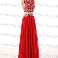 Red Long Evening Dress,Cap Sleeve Prom Dress,Handmade Chiffon Red Prom Dress,Long Formal Women Dress,Dress For Wedding