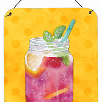 Mason Jar Cocktail Yellow Polkadot Wall or Door Hanging Prints BB8252DS1216