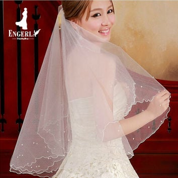 Pearl Beads Bridal Veil Wedding Accessories One Layer 1.5 M Length Vintage Bride Veil Without Comb Cathedral Dress Veils